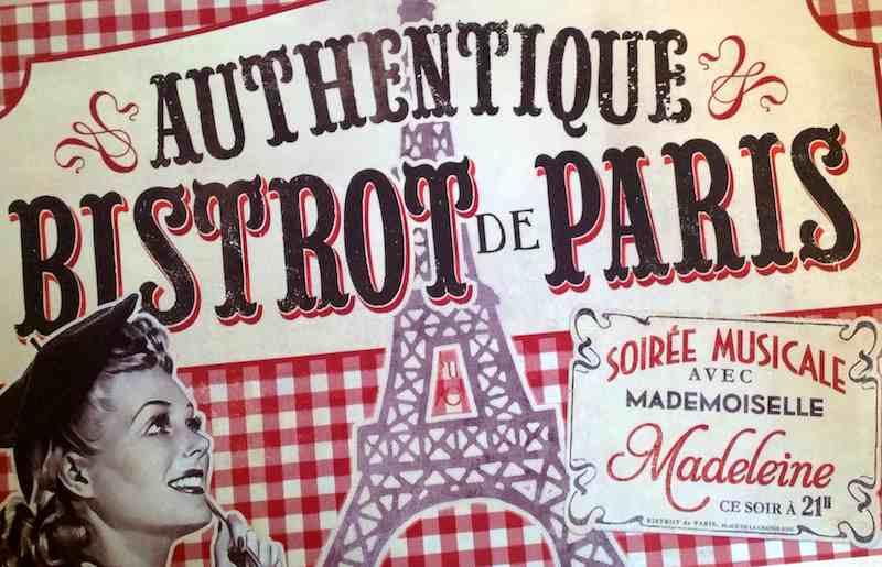 J\'aime La Papeterie Set de table Bistrot de Paris